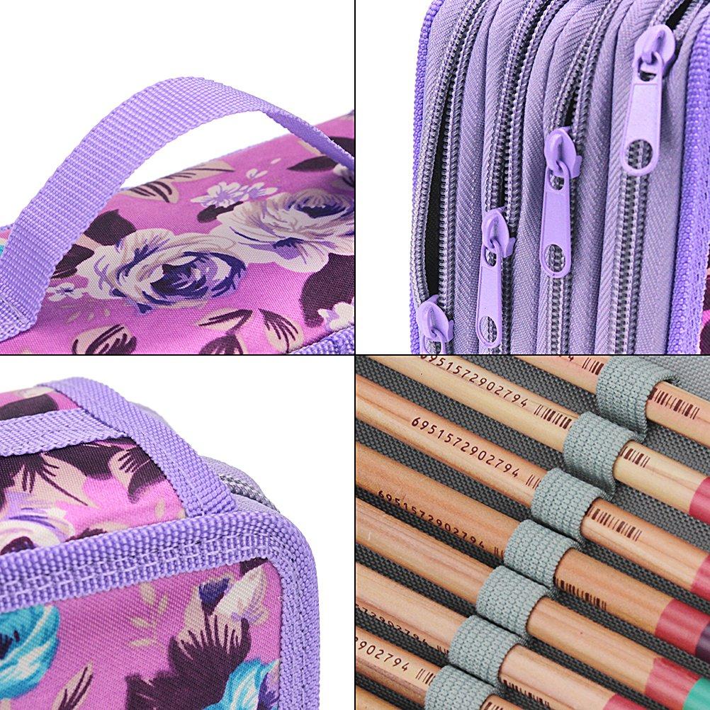 Large Capacity Portable Colored Pencil Holder Pen Bag Pouch for Artist Student Samaz 72 Slot Pencil Case Purple 07