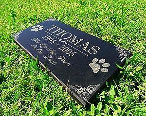 Lplpol Personalized Dog Memorial Cat Memorial Granite Stone Pet Grave Marker Engraved in Memory of Headstone Custom Engraved Garden Memorial Stone