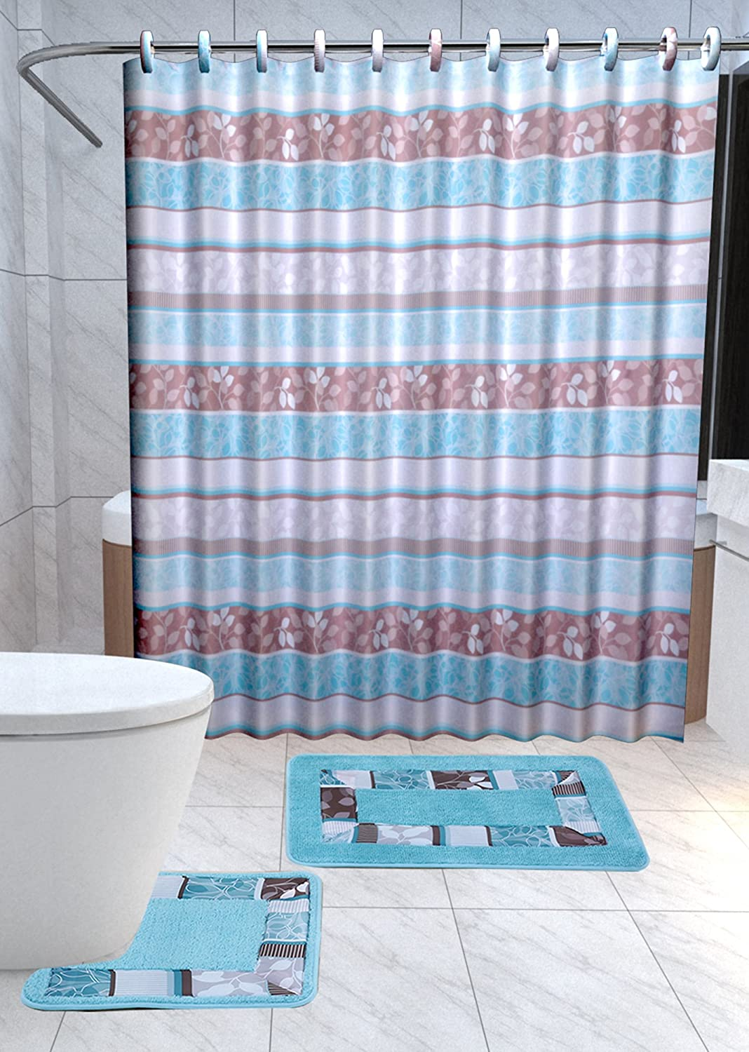 Attrayant Amazon.com: Zen 15 Piece Leaf Bathroom Accessories Set Rugs Shower Curtain  U0026 Matching Rings Turquoise Blue U0026 Brown: Home U0026 Kitchen