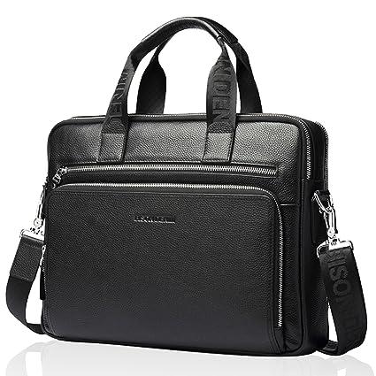 840e449b8b Amazon.com  BISON DENIM Mens Briefcase Leather Business Work Bag 14 Inch Laptop  Messenger Bag Iaptop Briefcase Handbag for Men  Office Products