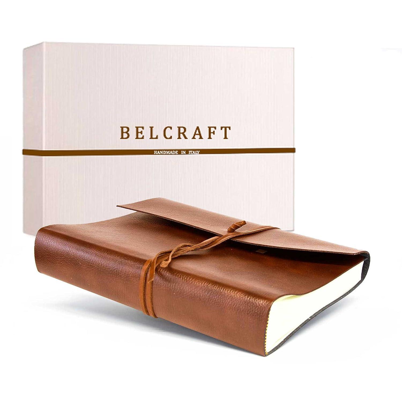 Tivoli Álbum de fotos de Piel Italiana Reciclada, Hecho a Mano, Incluye Caja Regalo Especial, A4 (23x30 cm) Marrón claro Belcraft