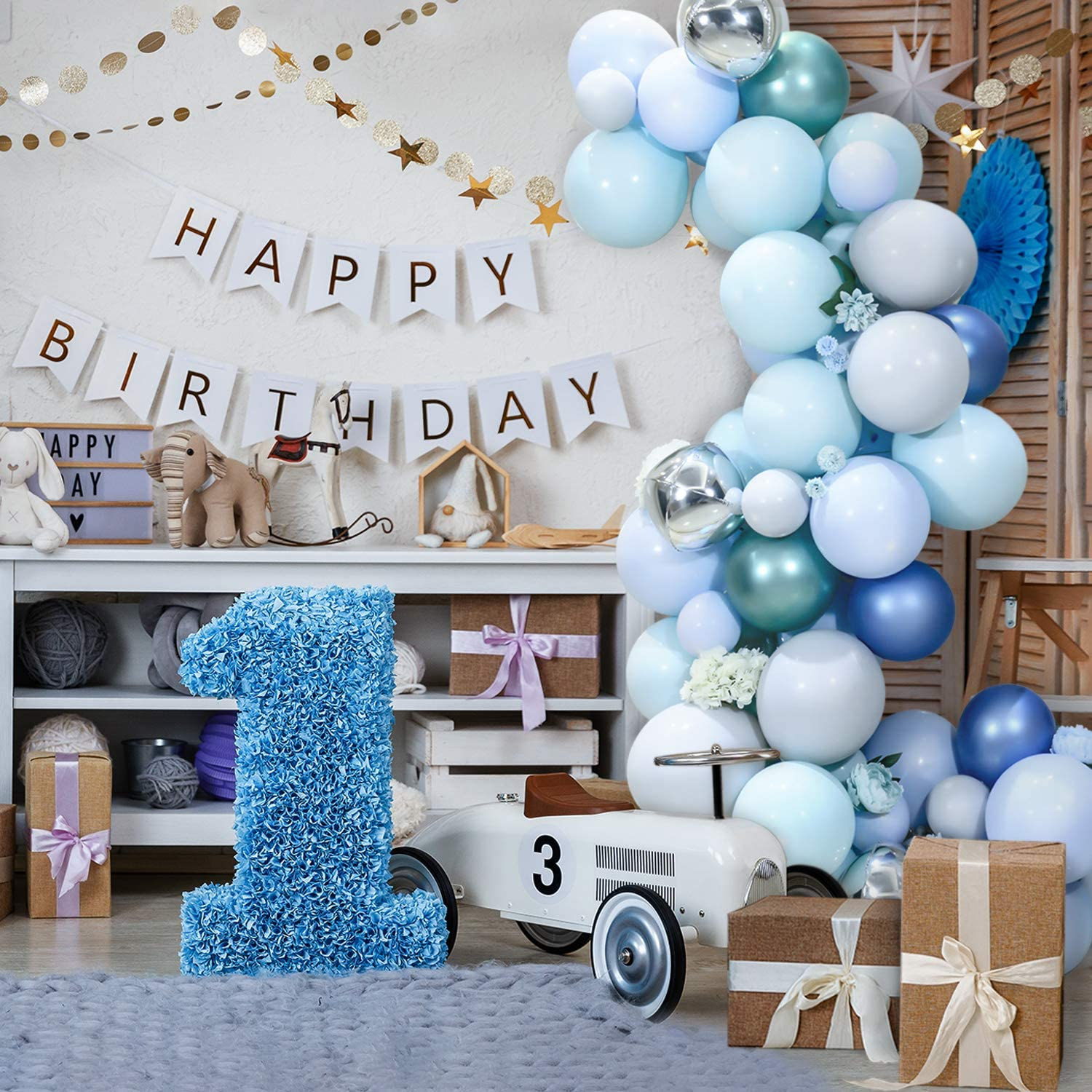 Balloon Arch Garland Kit, 75Pcs Blue Grey Green Latex Balloons with Tying Tool Strip Tape Glue Point Dots for Wedding Baby Shower Birthday Party Home Decor Event Backdrop