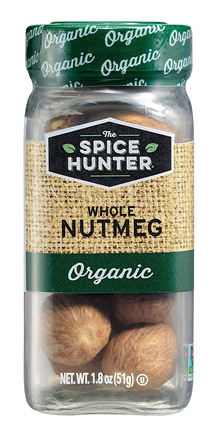 The Spice Hunter Organic Nutmeg, Whole, 1.8 oz. jar