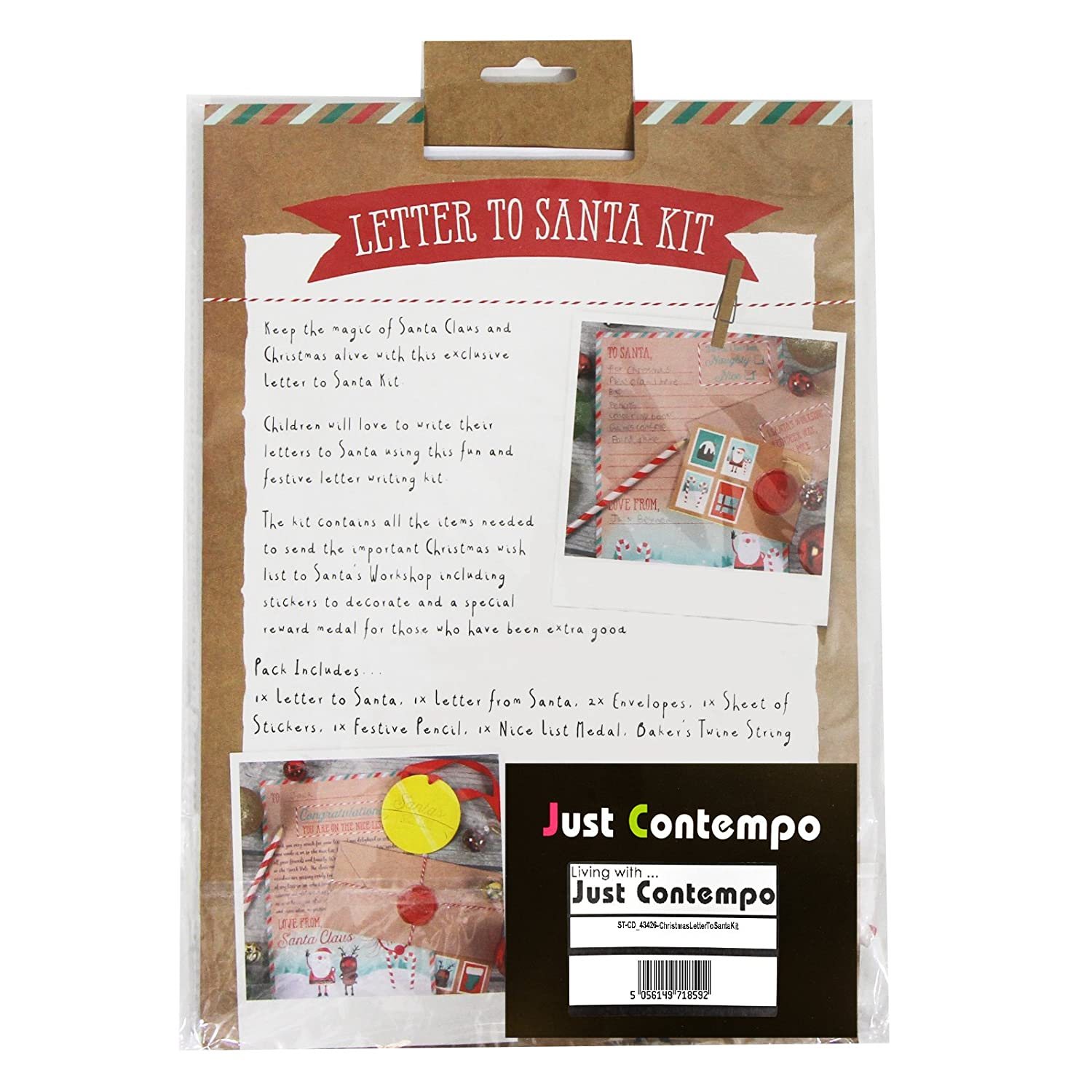 Just contempo christmas festive kit paper wood letter to santa just contempo christmas festive kit paper wood letter to santa 24 x 32 x 1 cm amazon kitchen home spiritdancerdesigns Images