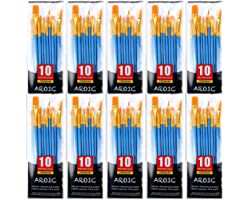 Painting Brush Set, 10 Packs /100 Pieces, Nylon Brush Head, Suitable for Oil and Watercolor, Perfect Suit of Art Painting, Be