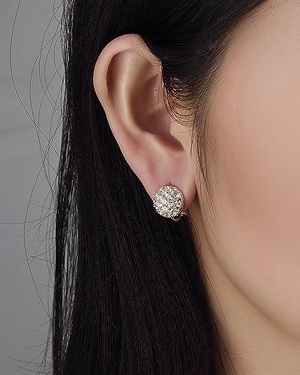 55fc495e99ca Yoursfs Circular Rose Gold Clip Pendientes para mujeres con cristales  austriacos redondos  Amazon.es  Joyería