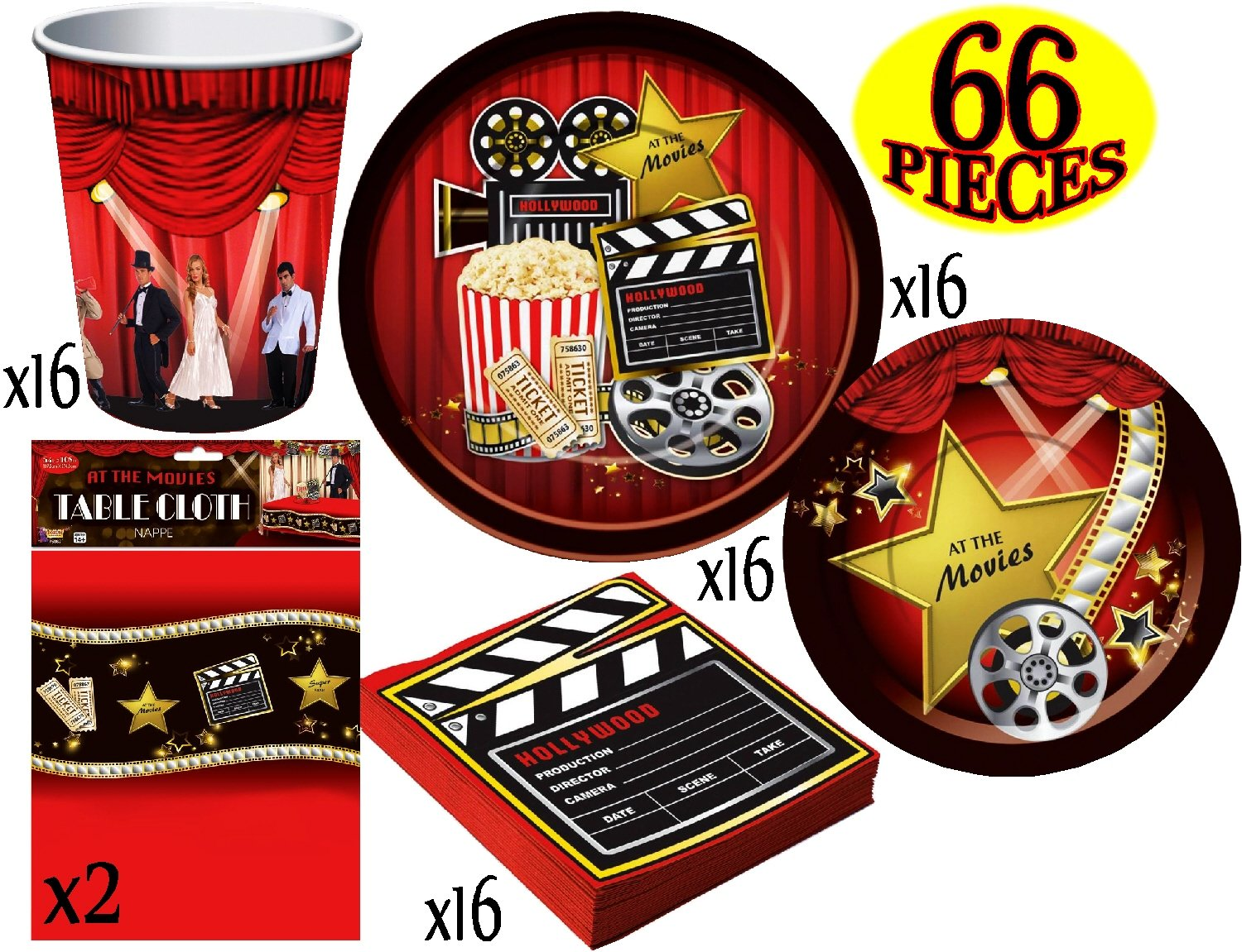 Hollywood ''At The Movies'' Theme Party Supplies Pack for 16 People, Includes 16 Large Plates, 16 Small Plates, 16 Napkins, 16 Cups & 2 Table Covers - Perfect for Movie Night or Birthday