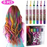 Philonext 6 Pcs Temporary Hair Chalk Set, Colorful Hair Chalk Pens, Temporary Non-Toxic Portable Hair Coloring Chalk Marker for Girls, Great Christmas Birthday Gifts Present for Girls