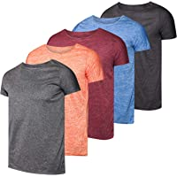 Real Essentials Paquete de 5 Camisetas de Manga Corta con Cuello Redondo para Mujer, de Ajuste seco, para Deporte, Yoga, Activo, Entrenamiento