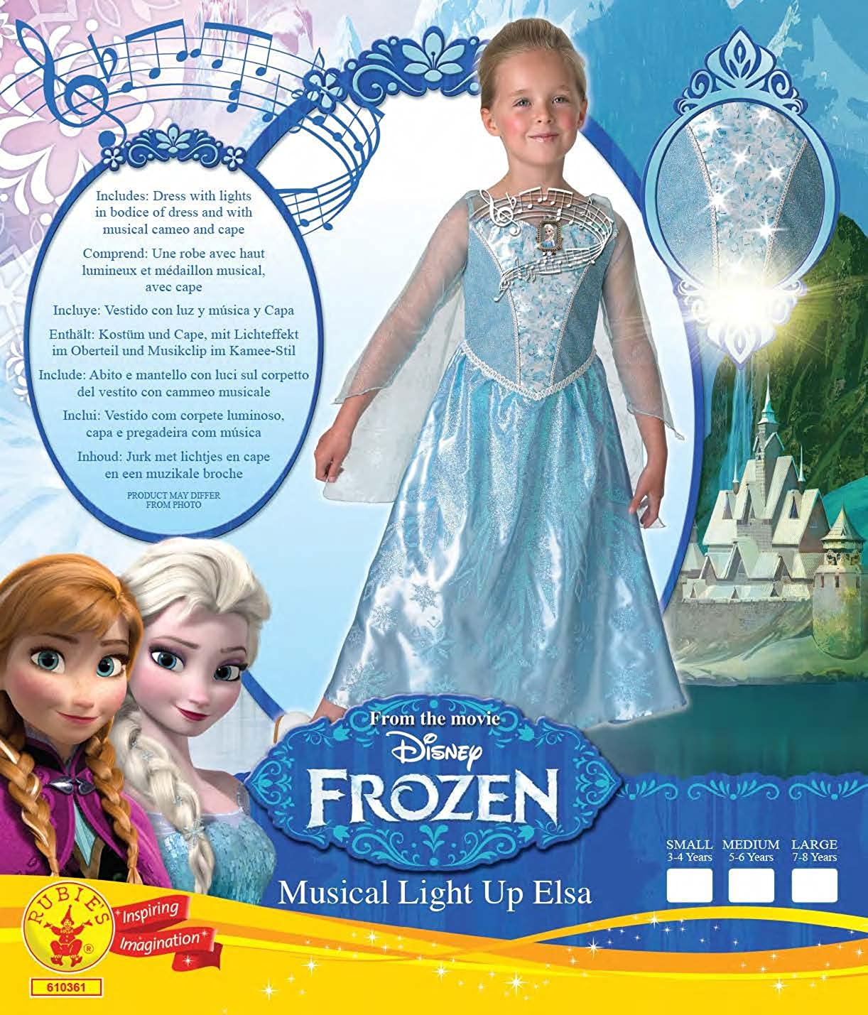 De Disney Frozen Elsa Musical & Light Up - Childrens Disfraz: Amazon.es: Juguetes y juegos