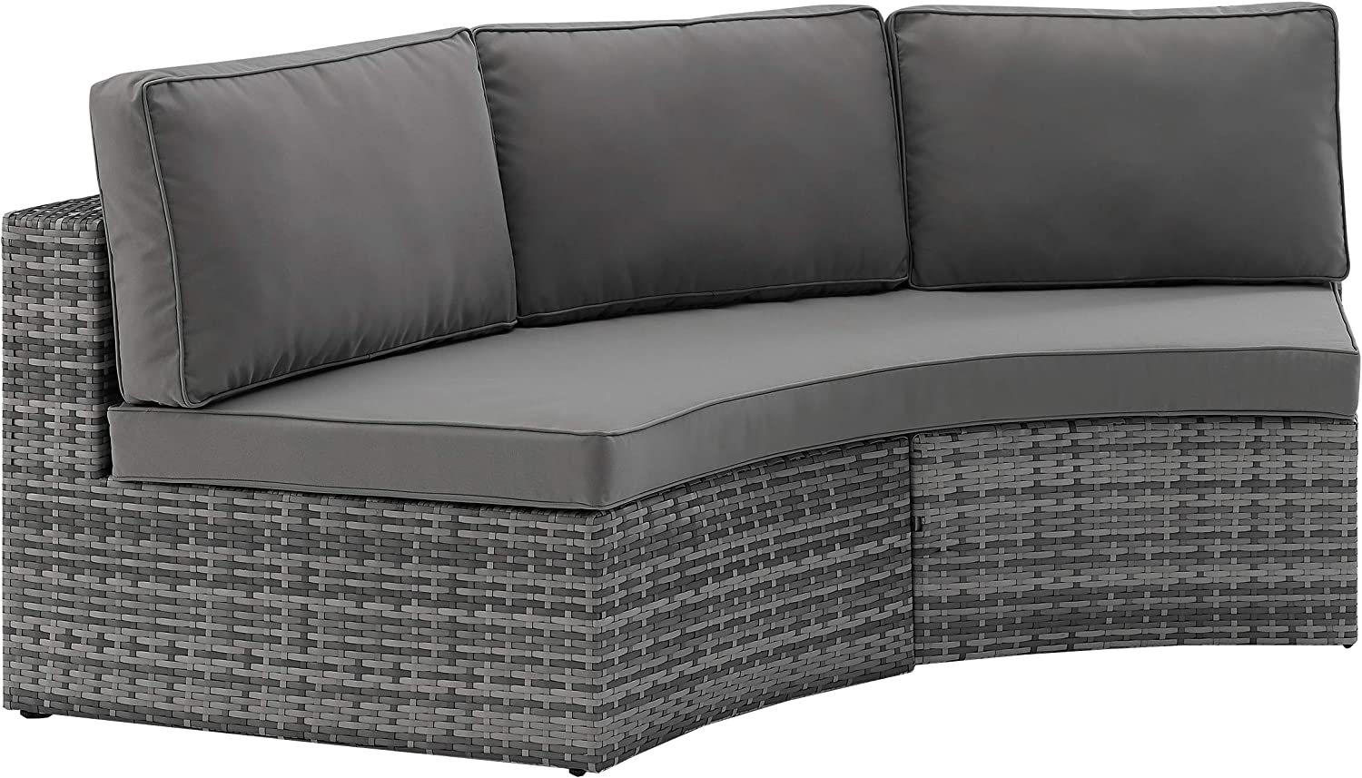 Crosley Furniture CO7120-GY Catalina Outdoor Wicker Round Sectional Sofa, Gray