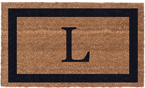 Coco Mats N More Black Single Bordered Monogrammed Coco Doormat 18 x 30 with Vinyl Backing