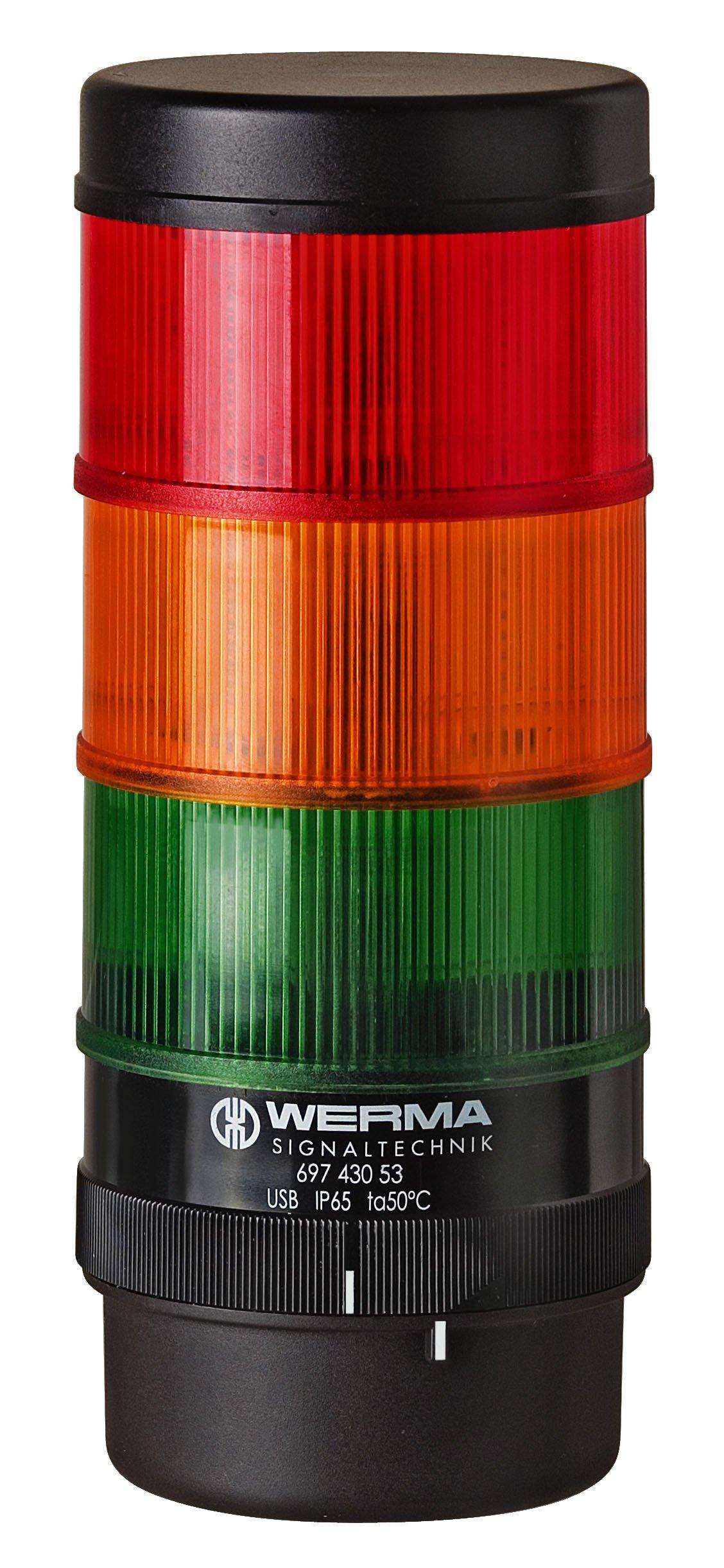 WERMA 697.000.55 Kompakt 71 BWM, 24 VDC, Pa-gf, Green/Yellow/Red