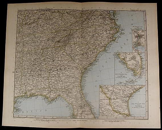 United States Florida Texas Carolinas Georgia nice 1894 fine ... on big map of florida, political map of florida, towns of florida, southern florida, full large map of florida, sarasota florida, plantation florida, printable map of florida, full size map of florida, highway map of florida, ocala florida, map of brandon florida, map of pace florida, topo map of florida, satellite map of florida, key largo florida, the villages florida, trinity florida, us map of florida, islands of florida,