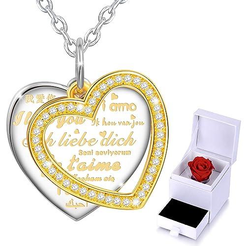 Marenja christmas gift womens fashion necklace heart pendant marenja christmas gift womens fashion necklace heart pendant engraved i love you in 10 aloadofball Gallery