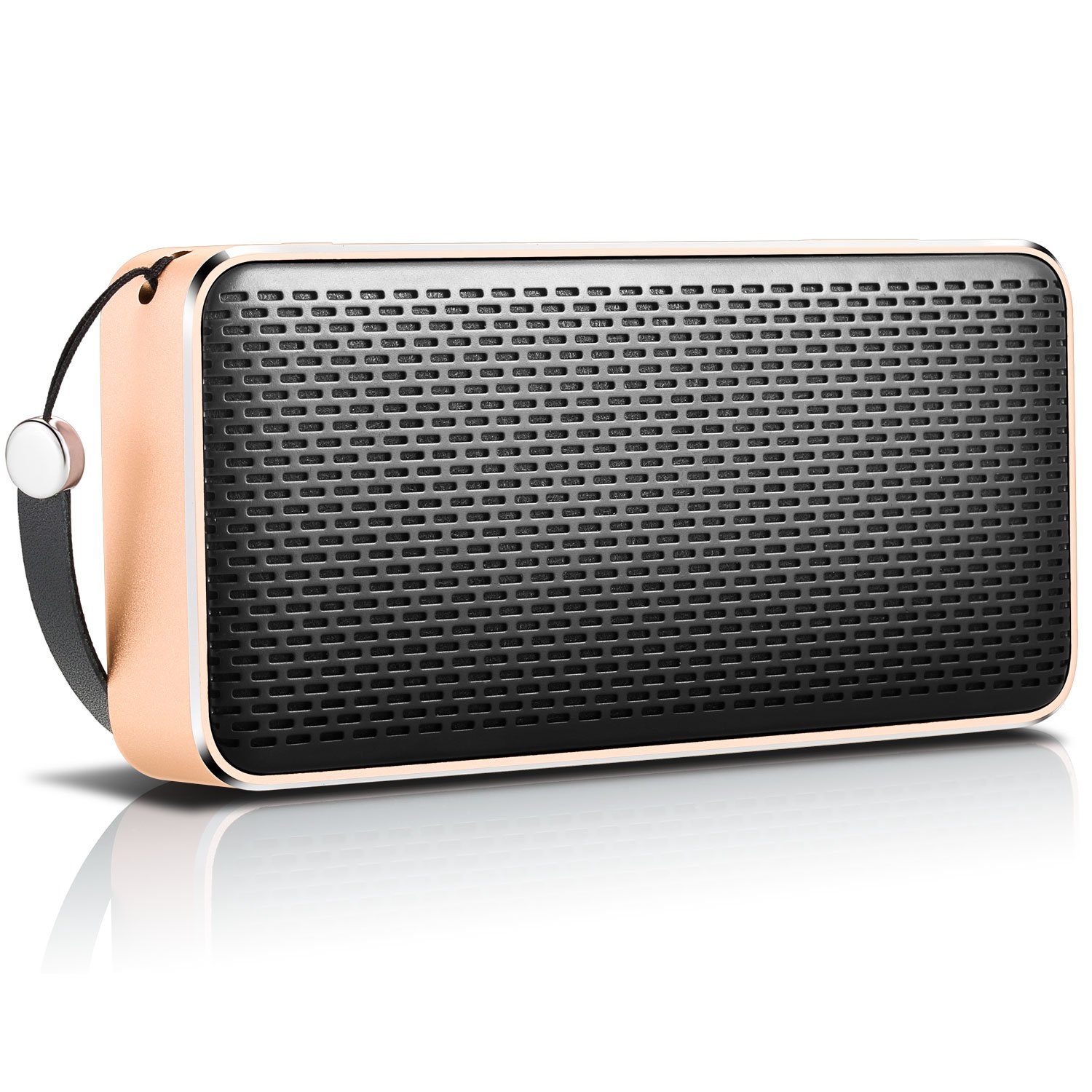 Gladorn SoundShow Wireless Portable Bluetooth V4.0 Speaker with 20 Hours Playtime,HD Sound with Enhanced Bass,Built-in Microphone and Smartphone Charging for Outdoor -Gold