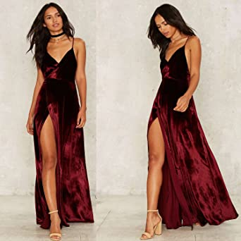Azbro Womens V Neck Backless Velvet Prom Dress, Burgundy S: Amazon.co.uk: Clothing