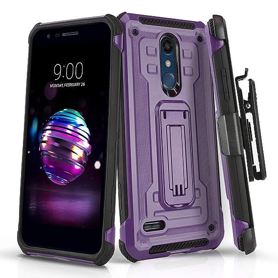 Phone Case for [LG Premier PRO LTE (L413DL,L414DL)], [Rivet Series][Purple]  Shockproof Cover & [Belt Clip Holster] for LG Premier Pro LTE (Tracfone,