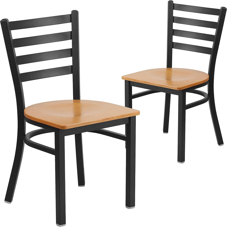 Flash Furniture 2 Pk. HERCULES Series Black Ladder Back Metal Restaurant Chair - Natural Wood Seat