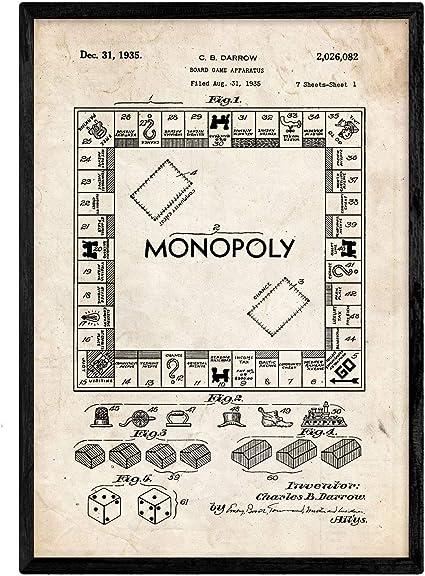 Nacnic Poster con Patente de Monopoly. Lámina con diseño de Patente Antigua en tamaño A3 y con Fondo Vintage: Amazon.es: Hogar