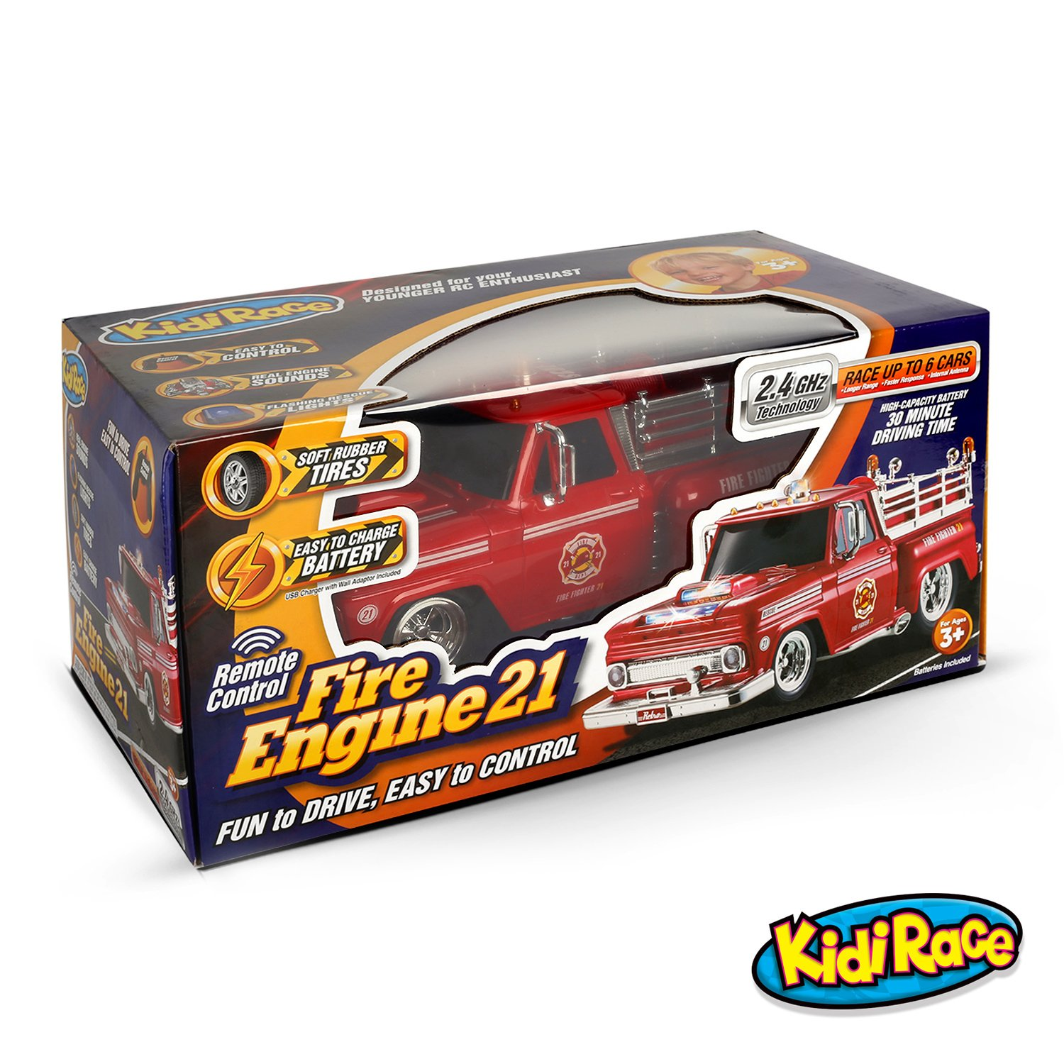 amazoncom kidirace rc remote control fire engine truck rechargeable rc car durable easy to control toys games