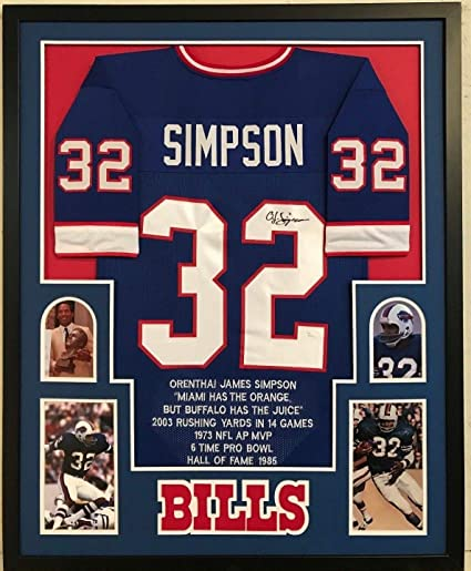 timeless design b9ede a7b09 FRAMED OJ O.J. SIMPSON AUTOGRAPHED SIGNED BUFFALO BILLS STAT ...