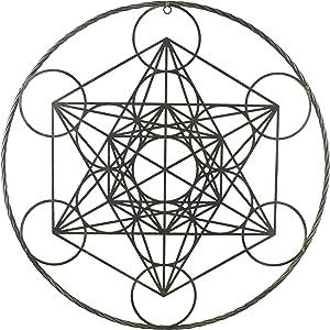 Top Brass Large Metal Metatron Cube Sacred Geometry Wall Decor - Platonic Solids Spiritual Meditation Artwork