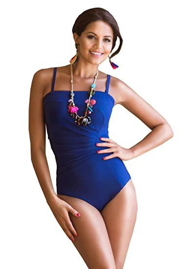 c4395fe3ad994 Stylish Fornia Mastectomy Swimsuit with Pockets. This Jamu one Piece  bathingg Suit with Fan Pleat Detail is The Swimwear for Your Summer! in  Indigo Blue.