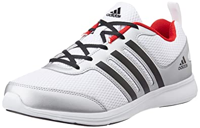 adidas Men's Yking M Silver, White, Black and Red Running Shoes - 10 UK