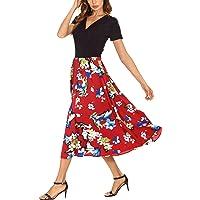 Women's Vintage Contrast Audrey Dress Floral Party Wrap Dress