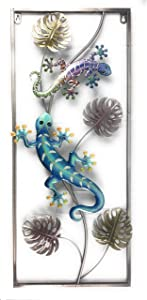 Metal Gecko Wall Art 3D Plaque Decor Lizard Sculpture for Outdoor Backyard Fence Patio Garden Pool Side Or Indoor Bathroom Living Room Bedroom Hallway, 27X13 inches