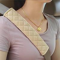 Premium Gurtpolster im Zweierpack, Polsterung für Sitzgurt im Auto für mehr Komfort auf der Reise(Beige)
