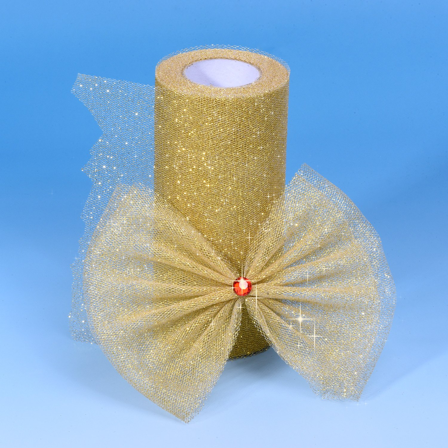 25 Yards Outus 6 Inch Sparkling Tulle Ribbon Roll Glitter Tulle Roll Tulle Spool Gold