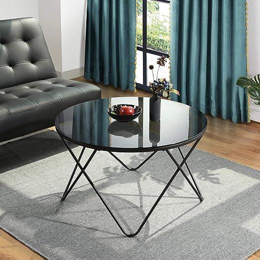 HOMYLIN - Mesa de café con Tapa de Cristal para cóctel, Mesa de té ...