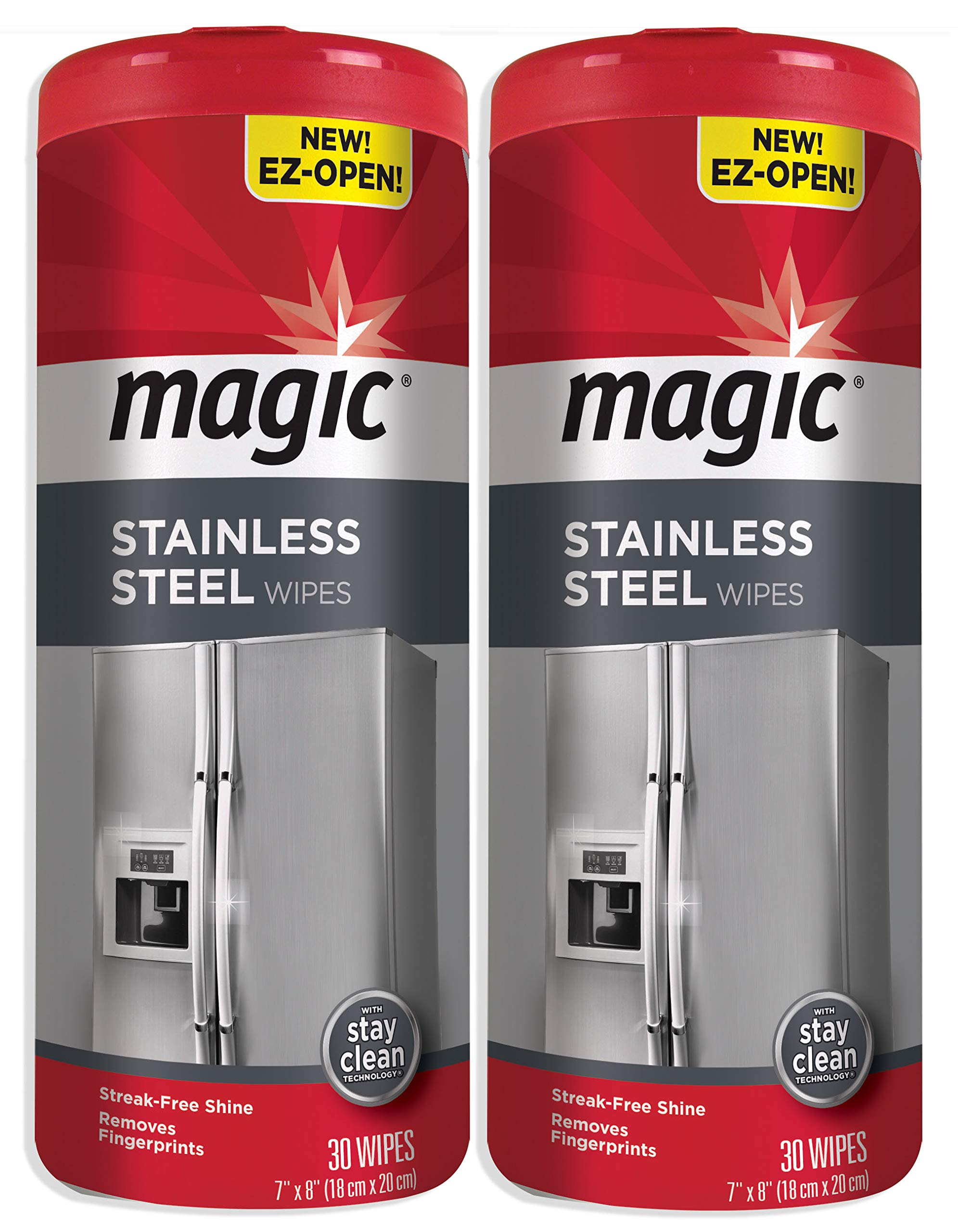 Magic Stainless Steel Wipes (2 Pack) Removes Fingerprints, Residue, Water Marks and Grease from Appliances - Works Great on Refrigerators, Dishwashers, Ovens - 30 Count by Magic