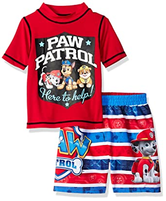 3d9bd23f64 Amazon.com: Nickelodeon Boys' Paw Patrol 2-Piece Swim Set, Toddler red /White/Blue, 2T: Clothing