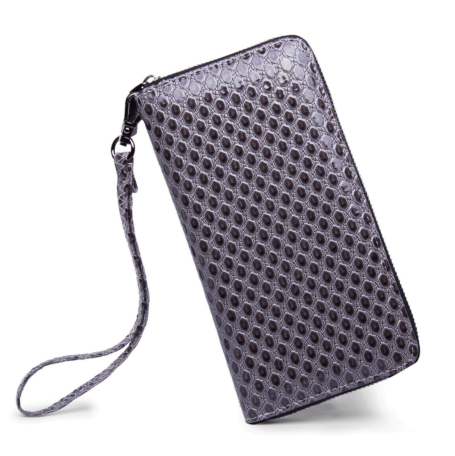 LIKEWE Women Grey Hexagon Wallet Zip Around Clutch Wallet Large Travel Purse (PU-Grey-LBX)