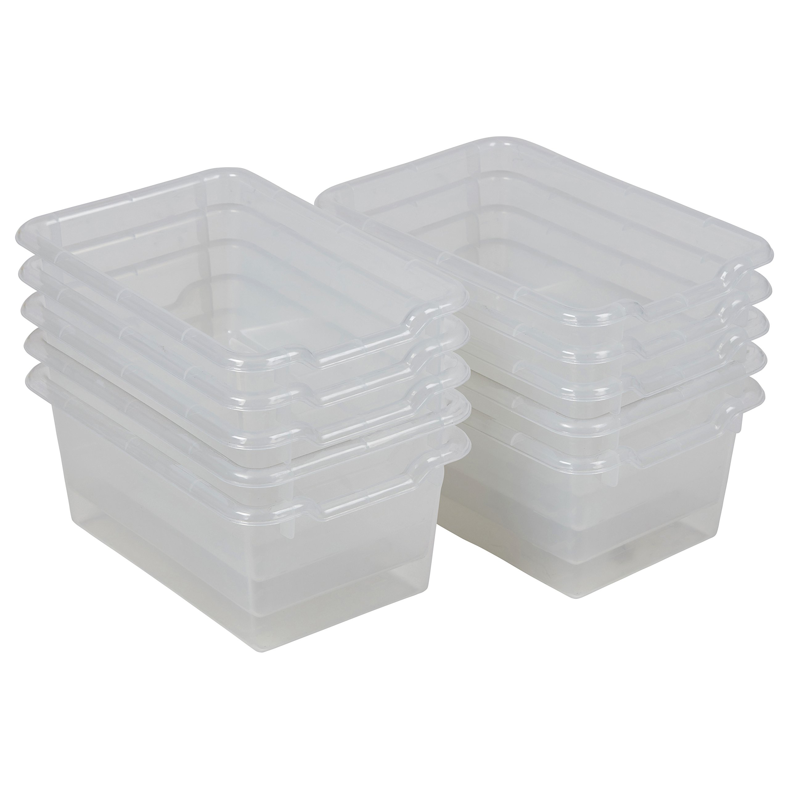ECR4Kids Scoop Front Storage Bins, Clear (10-Pack) by ECR4Kids