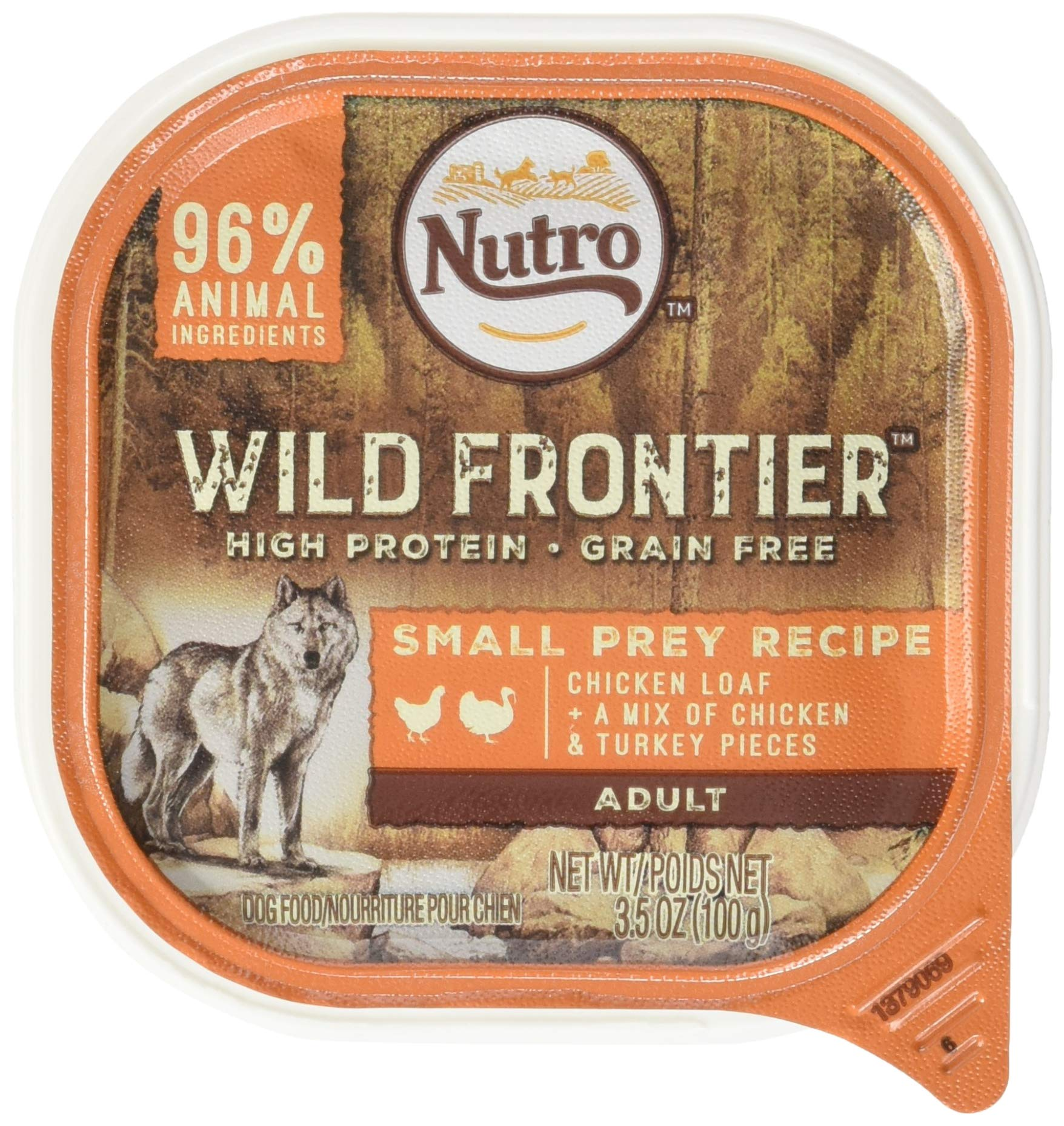DISCONTINUED: NUTRO Wild Frontier Small Prey Recipe Chicken Loaf With a Mix of Chicken and Turkey Pieces Dog Food Trays 3.5 Ounces (Pack of 24) by Wild Frontier Wet Dog
