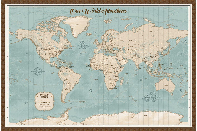 Amazon.com: Large Push Pin World Map - Personalized Map on 2 ...