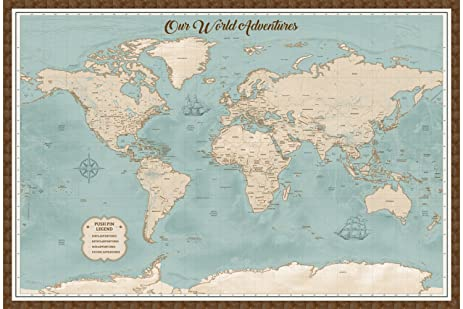 Amazon framed world map pin board personalized map with framed world map pin board personalized map with rustic brown frame and pins 24 x gumiabroncs Choice Image
