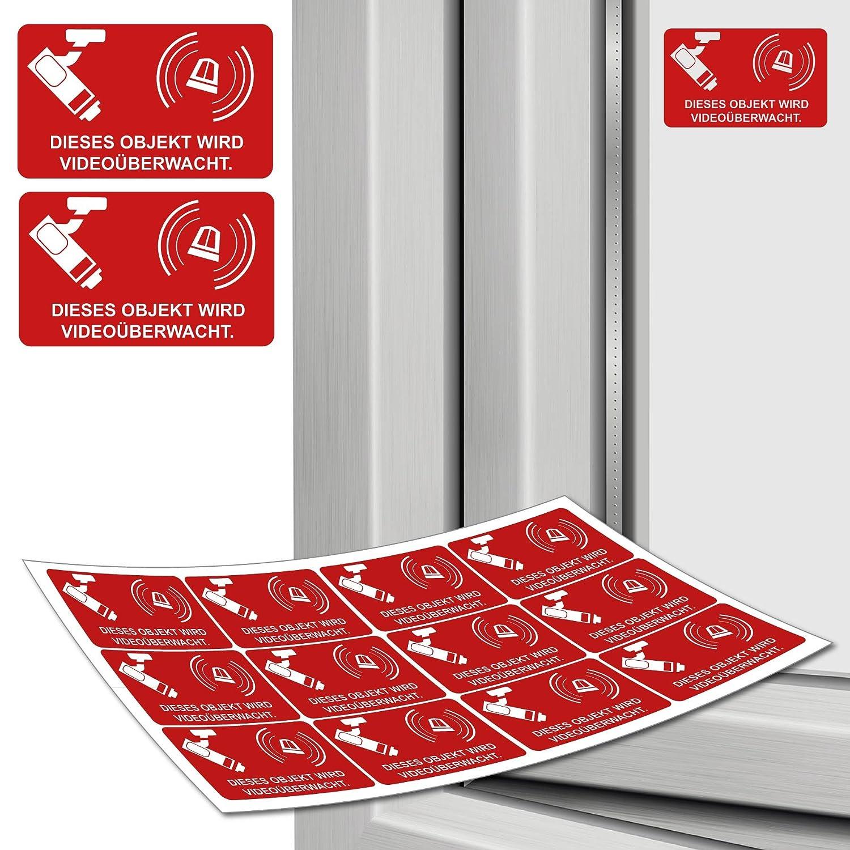 Aufkleber Alarmgesichert Alarm 5 cm x 3 cm, 12 Stück - Hinweis auf Alarmanlage, außenklebend für Fensterscheiben, Auto, Haus, LKW, Baumaschinen