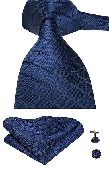Set Hi-Tie de pañuelo y corbata de seda y de gemelos, con diseño de cuadros, para hombre