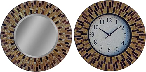 Lulu Decor, Amber Rays Mosaic Wall Clock Mirror Combo, Frame Size 16 , Perfect for Home Office Space