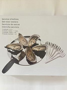 Carrefour ostras Vajilla Set de 6 Platos, 6 gaben y 1 Cuchillo para ostras: Amazon.es: Hogar