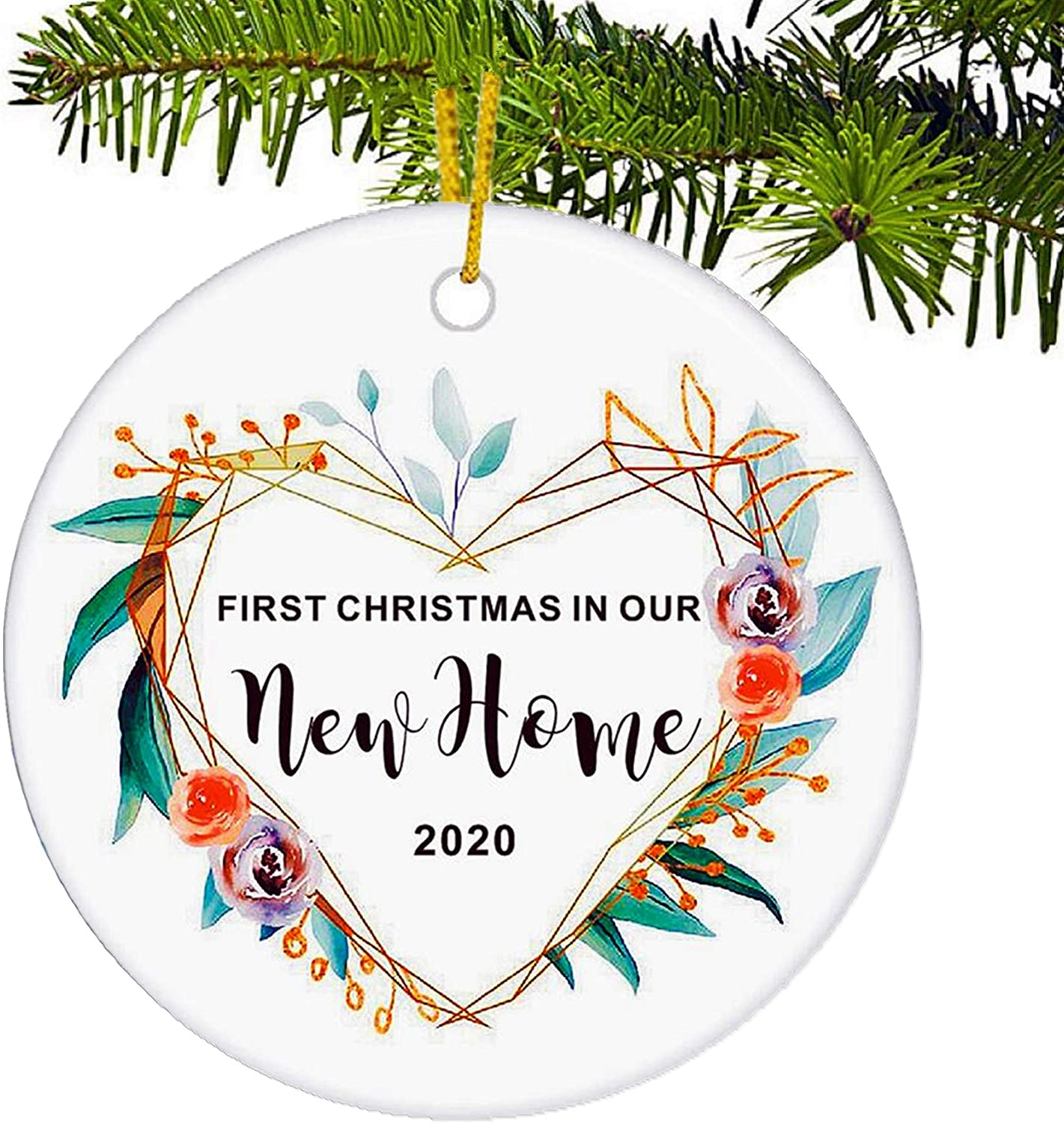 JUPPE Heart Wreath Our First Christmas in Our New Home 2020 Decoration Mr & Mrs Newlywed Xmax Tree Ornament Romantic Couples Gift (Heart-3)