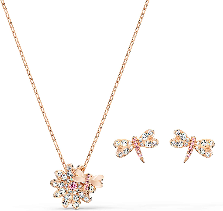 Swarovski Conjunto Eternal Flower Dragonfly, Rosa, Baño en Oro Rosa