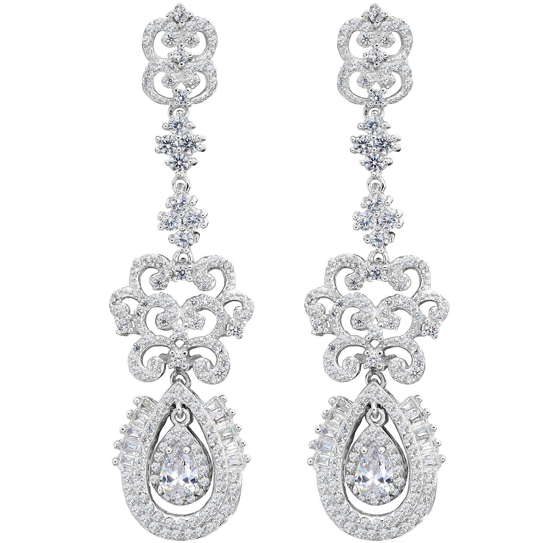 55eebb6e1 Amazon.com: EVER FAITH 925 Sterling Silver Cubic Zirconia Vintage Style Art  Deco Tear Drop Chandelier Earrings Clear: Jewelry