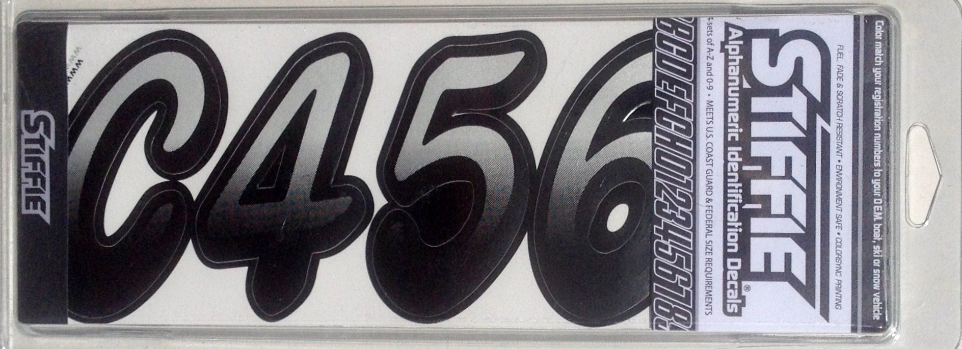 Stiffie Whipline Black//Silver 3 Alpha-Numeric Registration Identification Numbers Stickers Decals for Boats /& Personal Watercraft