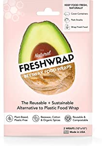 THE FRESHGLOW CO FRESHWRAP Natural Beeswax Food Wrap, 2-10